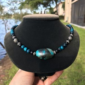 Genuine blue tiger eye & chrysocolla gem necklace